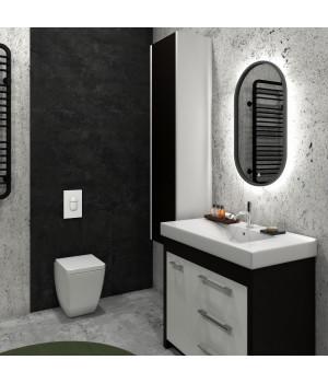 Черное зеркало с интерьерной подсветкой для ванной комнаты Прайм Блек